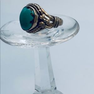 Vintage Hand Crafted Turquoise .925 Ring - size 6